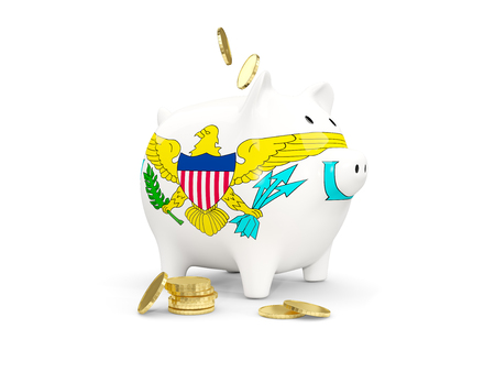 Fat piggy bank with fag of virgin islands us and money isolated on white. 3D illustration