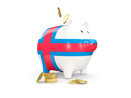 fag: Fat piggy bank with fag of faroe islands and money isolated on white. 3D illustration