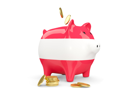 fag: Fat piggy bank with fag of austria and money isolated on white. 3D illustration