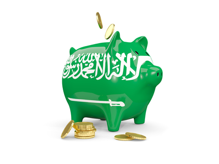fag: Fat piggy bank with fag of saudi arabia and money isolated on white. 3D illustration