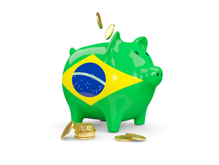 fag: Fat piggy bank with fag of brazil and money isolated on white. 3D illustration