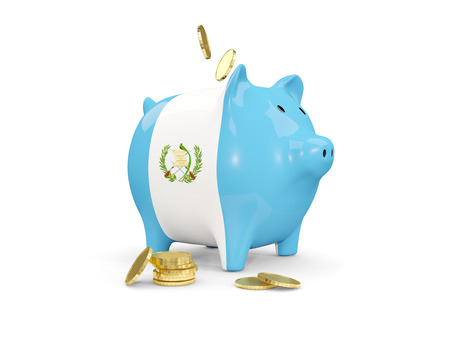 fag: Fat piggy bank with fag of guatemala and money isolated on white. 3D illustration