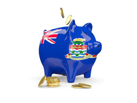 fag: Fat piggy bank with fag of cayman islands and money isolated on white. 3D illustration Stock Photo