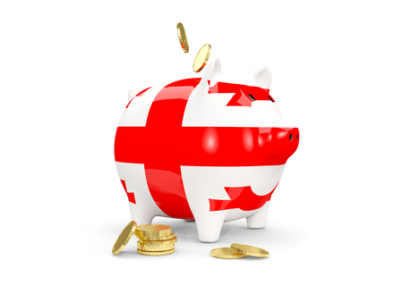 fag: Fat piggy bank with fag of georgia and money isolated on white. 3D illustration Stock Photo