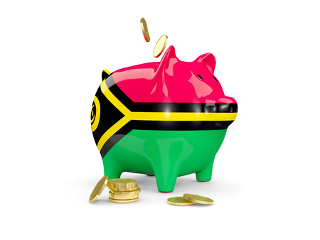Fat piggy bank with fag of vanuatu and money isolated on white. 3D illustration Stock Photo