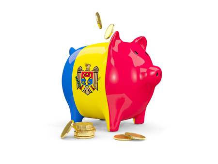 Fat piggy bank with fag of moldova and money isolated on white. 3D illustration