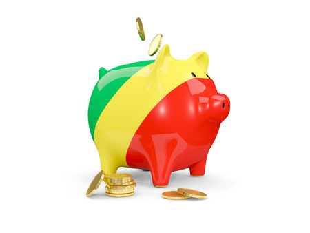 fag: Fat piggy bank with fag of republic of the congo and money isolated on white. 3D illustration
