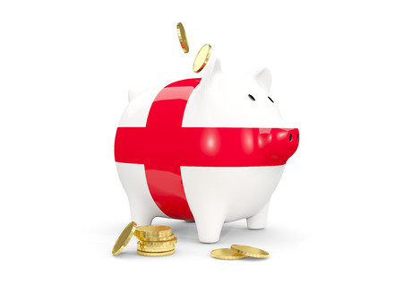 fag: Fat piggy bank with fag of england and money isolated on white. 3D illustration