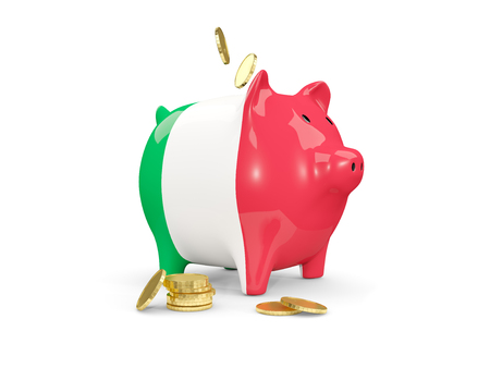 fag: Fat piggy bank with fag of italy and money isolated on white. 3D illustration