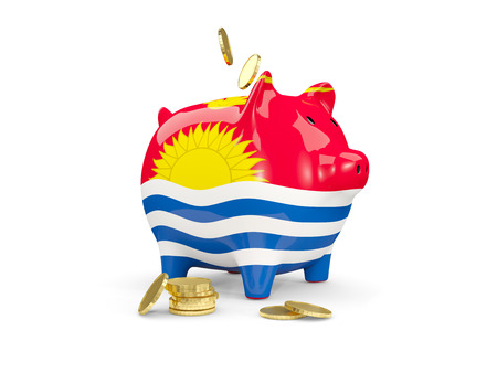 Fat piggy bank with fag of kiribati and money isolated on white. 3D illustration