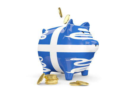 Fat piggy bank with fag of martinique and money isolated on white. 3D illustration Stock Photo