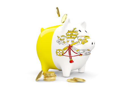 Fat piggy bank with fag of vatican city and money isolated on white. 3D illustration 版權商用圖片