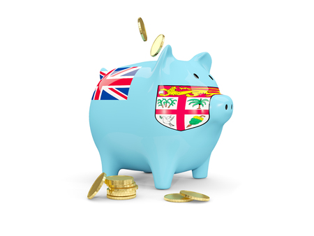 fag: Fat piggy bank with fag of fiji and money isolated on white. 3D illustration Stock Photo