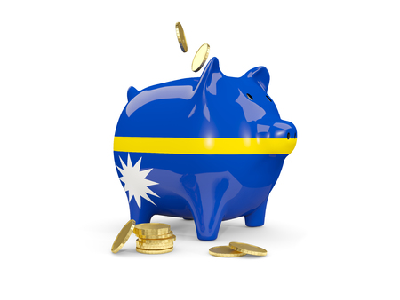 Fat piggy bank with fag of nauru and money isolated on white. 3D illustration