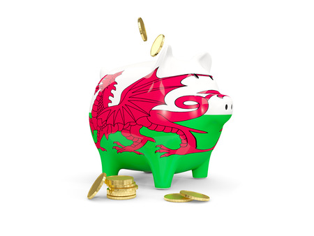 fag: Fat piggy bank with fag of wales and money isolated on white. 3D illustration