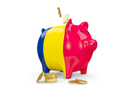 Fat piggy bank with fag of chad and money isolated on white. 3D illustration Stock Photo