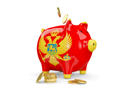 fag: Fat piggy bank with fag of montenegro and money isolated on white. 3D illustration Stock Photo