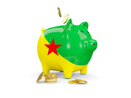 Fat piggy bank with fag of french guiana and money isolated on white. 3D illustration Stock Photo