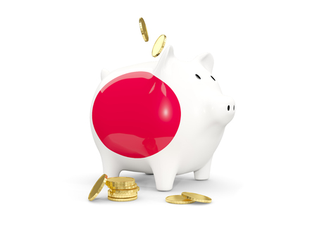 fag: Fat piggy bank with fag of japan and money isolated on white. 3D illustration