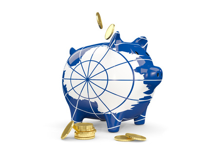 fag: Fat piggy bank with fag of antarctica and money isolated on white. 3D illustration