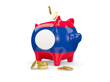 fag: Fat piggy bank with fag of laos and money isolated on white. 3D illustration Stock Photo