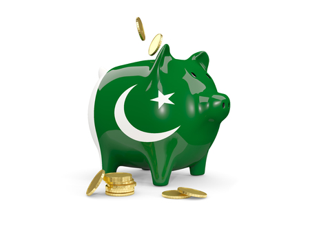 fag: Fat piggy bank with fag of pakistan and money isolated on white. 3D illustration