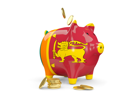 fag: Fat piggy bank with fag of sri lanka and money isolated on white. 3D illustration Stock Photo