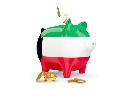 fag: Fat piggy bank with fag of kuwait and money isolated on white. 3D illustration