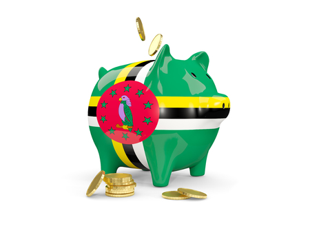 Fat piggy bank with fag of dominica and money isolated on white. 3D illustration