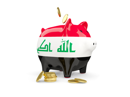 Fat piggy bank with fag of iraq and money isolated on white. 3D illustration Stock Photo