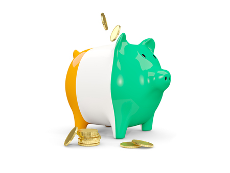 Fat piggy bank with fag of cote d Ivoire and money isolated on white. 3D illustration
