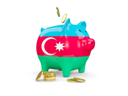 Fat piggy bank with fag of azerbaijan and money isolated on white. 3D illustration
