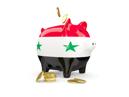fag: Fat piggy bank with fag of syria and money isolated on white. 3D illustration