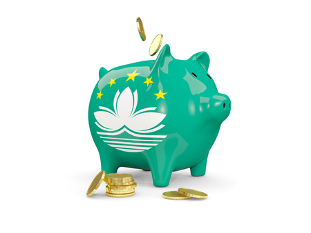 fag: Fat piggy bank with fag of macao and money isolated on white. 3D illustration