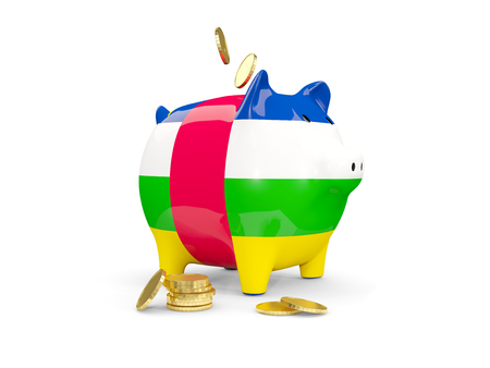 Fat piggy bank with fag of central african republic and money isolated on white. 3D illustration