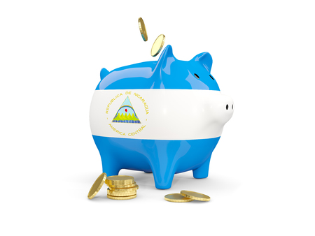fag: Fat piggy bank with fag of nicaragua and money isolated on white. 3D illustration
