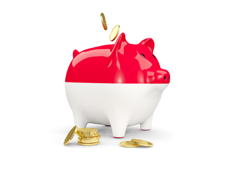 fag: Fat piggy bank with fag of monaco and money isolated on white. 3D illustration Stock Photo