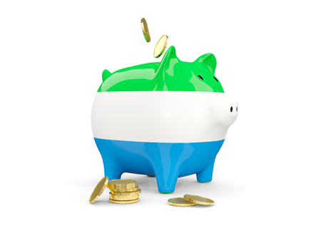 fag: Fat piggy bank with fag of sierra leone and money isolated on white. 3D illustration Stock Photo