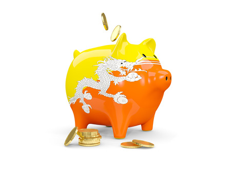 fag: Fat piggy bank with fag of bhutan and money isolated on white. 3D illustration