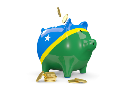 fag: Fat piggy bank with fag of solomon islands and money isolated on white. 3D illustration