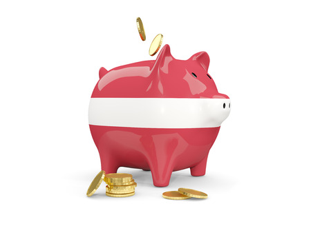 Fat piggy bank with fag of latvia and money isolated on white. 3D illustration