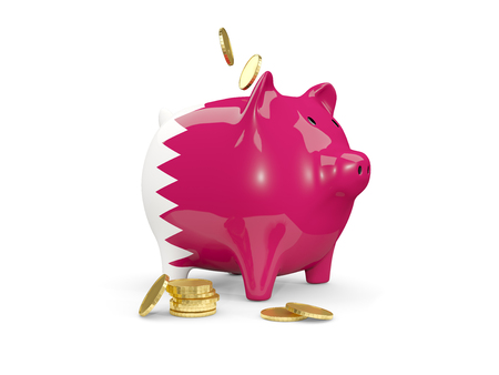 fag: Fat piggy bank with fag of qatar and money isolated on white. 3D illustration
