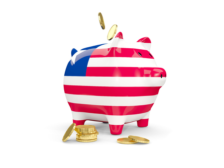 fag: Fat piggy bank with fag of liberia and money isolated on white. 3D illustration