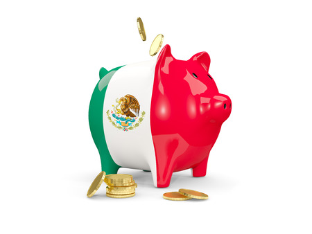 Fat Piggy Bank With Fag Of Mexico And Money Isolated On White
