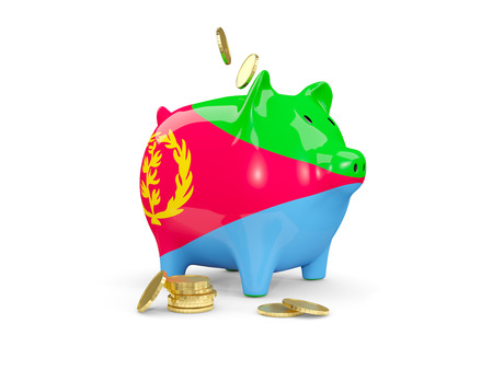 fag: Fat piggy bank with fag of eritrea and money isolated on white. 3D illustration