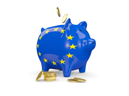 fag: Fat piggy bank with fag of european union and money isolated on white. 3D illustration Stock Photo