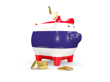 fag: Fat piggy bank with fag of thailand and money isolated on white. 3D illustration Stock Photo