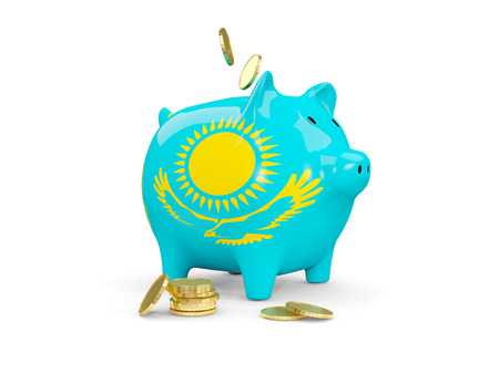 fag: Fat piggy bank with fag of kazakhstan and money isolated on white. 3D illustration Stock Photo