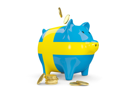 Fat piggy bank with fag of sweden and money isolated on white. 3D illustration Stock Photo