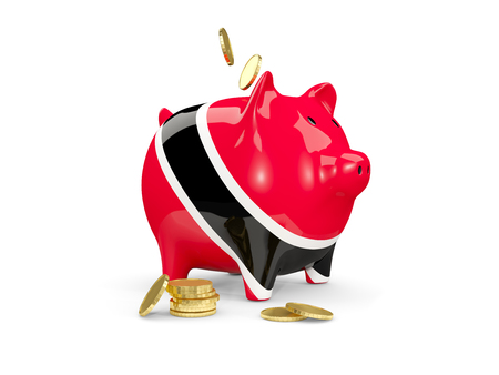 fag: Fat piggy bank with fag of trinidad and tobago and money isolated on white. 3D illustration